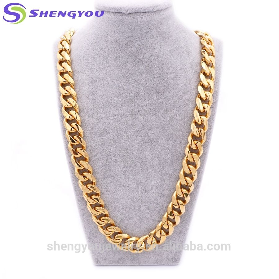 Fantasy Hip Hop Style 15mm DuBai Gold Chain Necklace Set