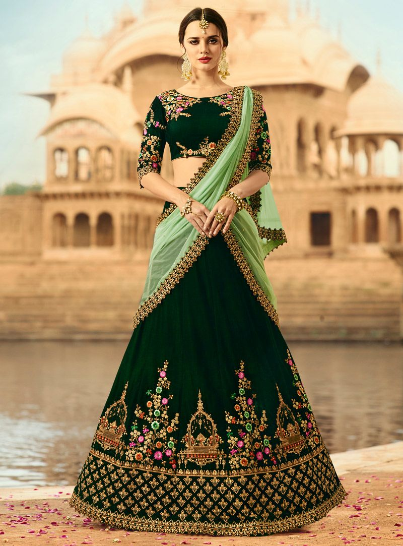 52883336de Buy Green Velvet Embroidery Work A Line Lehenga Choli 117218 online at  lowest price from vast collection at m.indianclothstore.c.