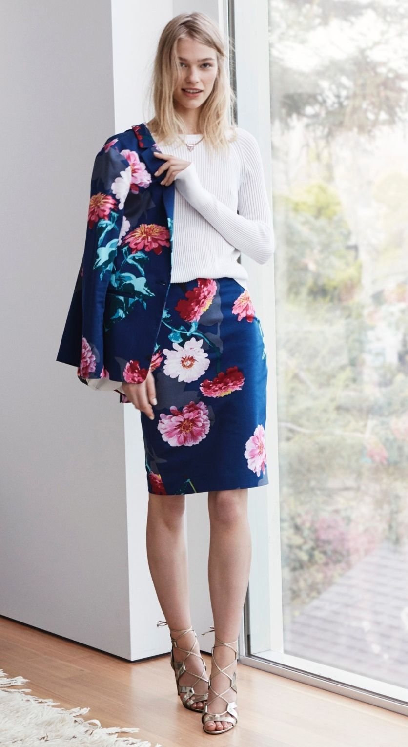 9f668e490f0f3 Add a bold print to your suiting look with our blue floral blazer and pencil  skirt look | Banana Republic