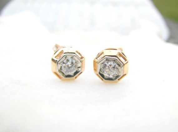 earrings old cut diamond stud deco art pin franziska fiery by mine