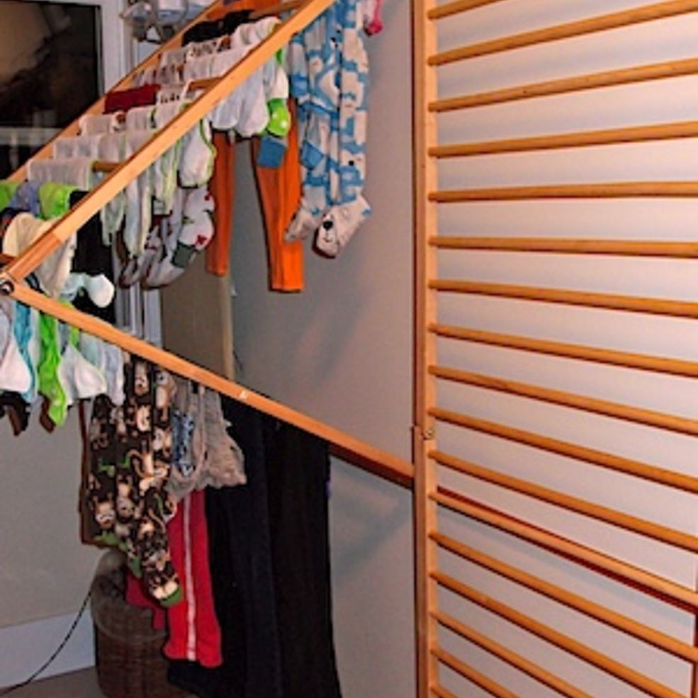 Diy wallmounted clothes drying rack clothes drying racks diy