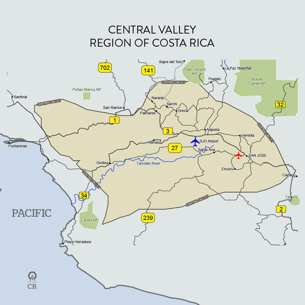Costa rica central valley map costa rica denominado oficialmente costa rica central valley map gumiabroncs Image collections