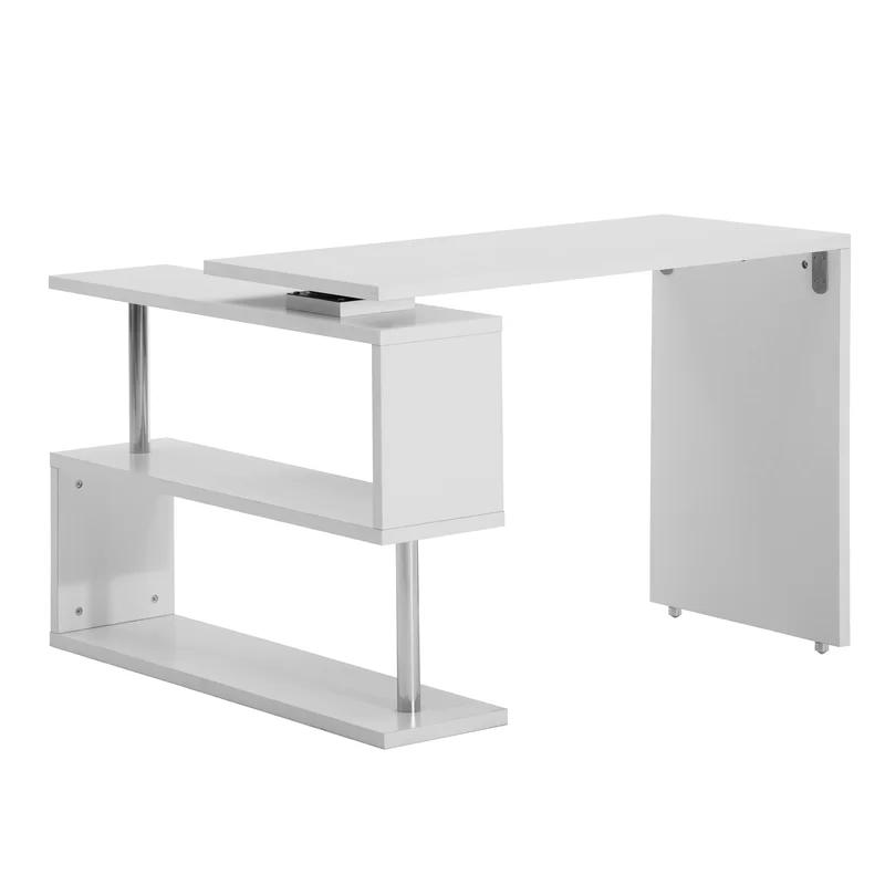 Kumsal Reversible L Shape Gaming Desk In 2020 White Corner Computer Desk Computer Desk With Shelves Rotating Computer Desk