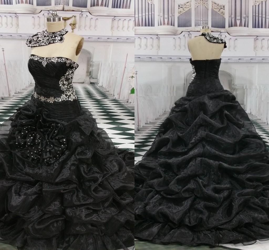 Vintage Black Wedding Dresses Organza Ruffles Remove High Neckline Crystals Beaded Pleat In 2020 Wedding Dress Organza Ruffle Wedding Dress Mermaid Style Wedding Dress