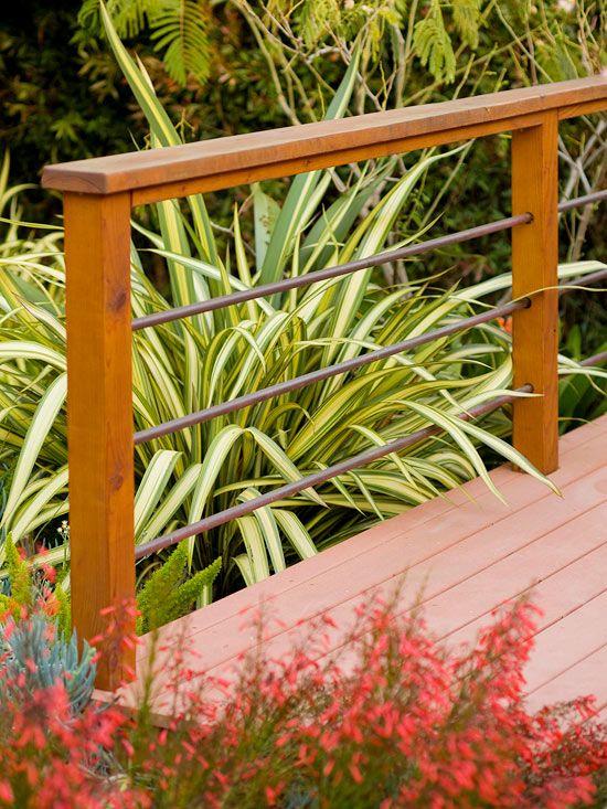Wire lattice deck railing. This striking yet inexpensive