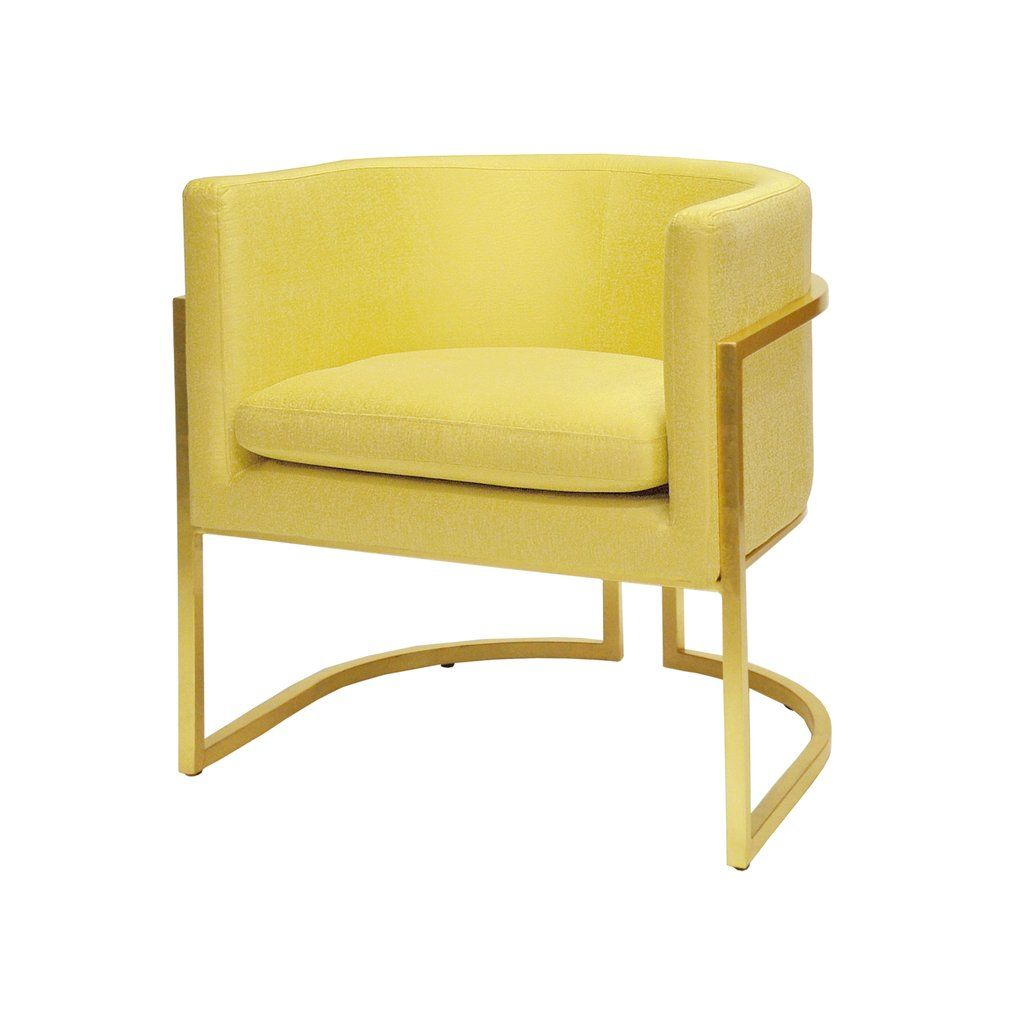 Worlds Away Barrel Arm Chair With Gold Leaf Frame Citron Upholstery Barrel Chair Chair Armchair