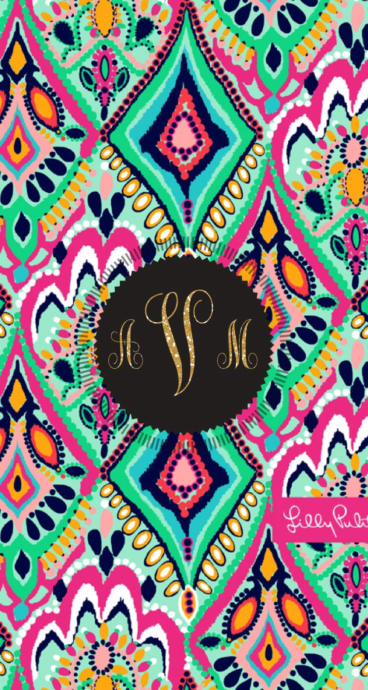 lilly pulitzer monogram background with glitter letters  by allie v  made with  monogramapp