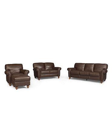 Macy's Umbria Leather sofa set