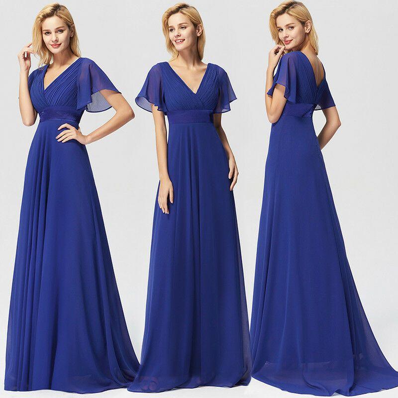 Ever Pretty Short Sleeve Sapphire Blue Bridesmaid Prom Evening Maxi Dress 09890 Ad Chiffon Evening Dresses Maxi Dress Evening Bridesmaid Dresses Long Chiffon
