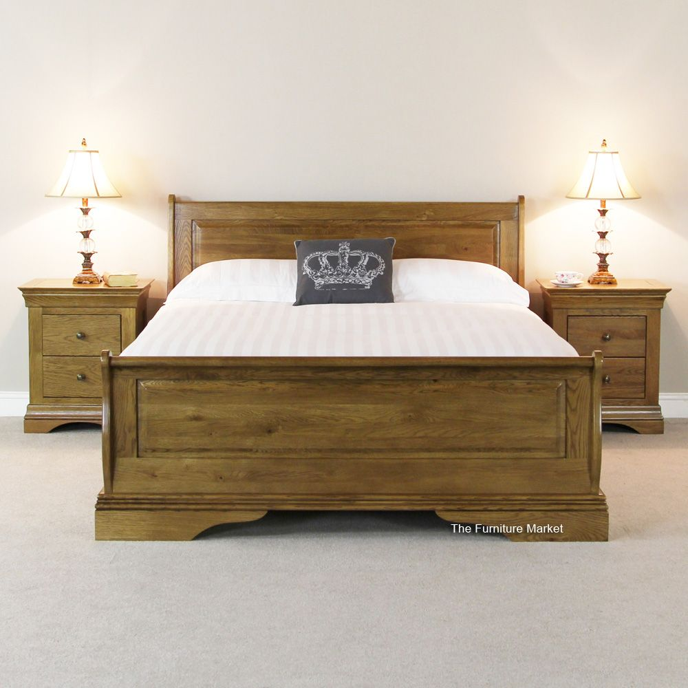 French Louis Solid Oak 5ft King Size Sleigh Bed | Tents - browns ...