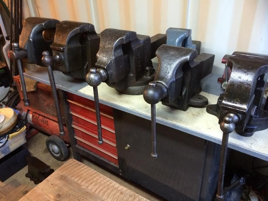 Amazing Collection Of Monster Vises Vises Old Tools Workshop Organization