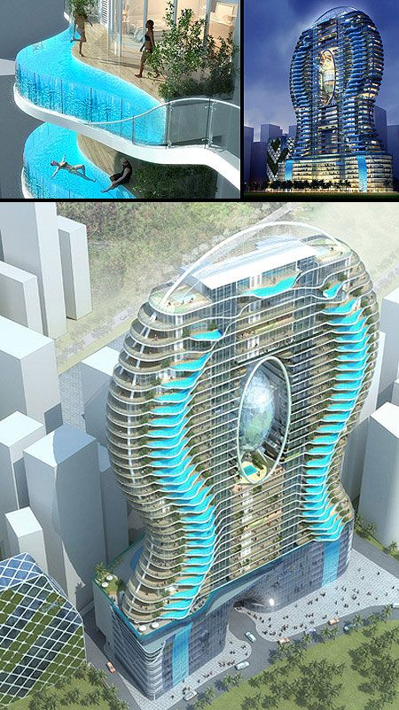Mind Blown Every Home In This Building Has An Amazing Balcony Pool Techebl Creative Architecture Futuristic Architecture Residential Architecture Facades