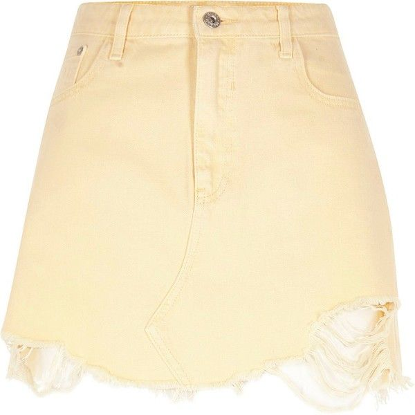 b1a4bbcb0 River Island Light yellow ripped hem denim mini skirt ($64) ❤ liked on  Polyvore featuring skirts, mini skirts, bottoms, women, yellow, short skirts,  ...