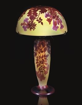 These colors are so rich & perfect. EMILE GALLÉ / Double Overlaid Cameo Table Lamp / c. 1905 / Christie's