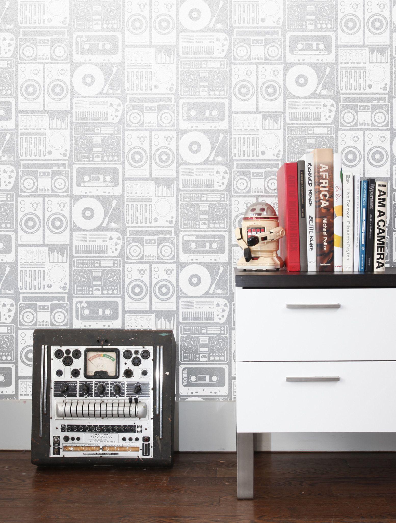 kid wallpaper usa mylar. Analog Nights Mylar Wallpaper In Silver Cloud Design By Aimee Wilder Kid Usa V