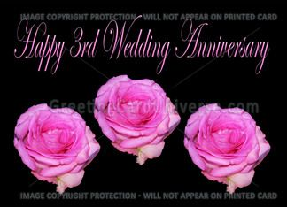 Pink Roses Happy 3rd Wedding Anniversary Card Greeting Card Anniversary Greetingcard Wedding Anniversary Cards 3rd Wedding Anniversary Wedding Cards