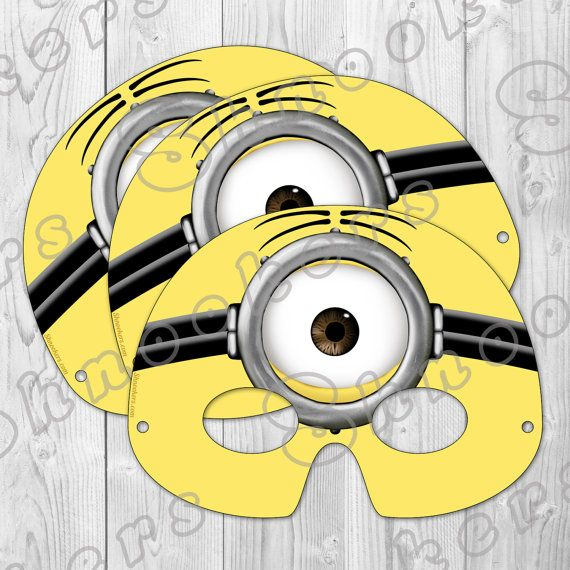 Despicable Me 2 Inspired Printable Minion Party Mask Instant Download Shop Shnookers Via Etsy Minion Party Minion Birthday Party Despicable Me Party