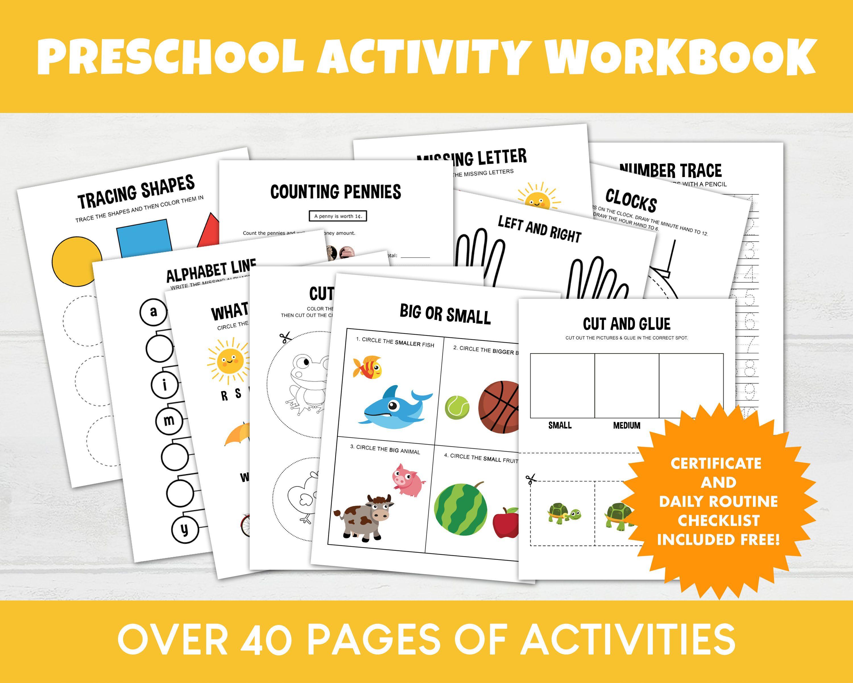 Preschool Workbook Printable Pre K Homeschool Printables Etsy Preschool Workbooks Preschool Worksheets Kindergarten Worksheets [ 2400 x 3000 Pixel ]