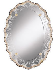 oval Venetian glass mirror framed in hand-etched glass with gold highlights. Venetian mirror a beaded glass edging and rosettes