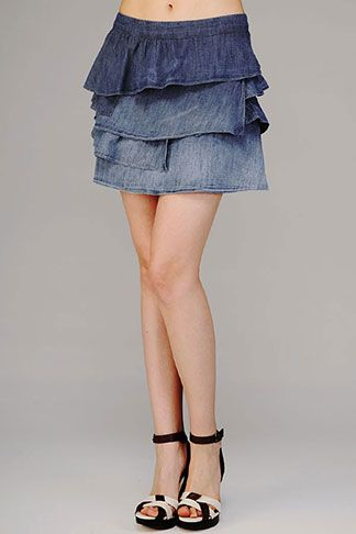Chambray Asymmetric Ruffle Skirt #7FAM