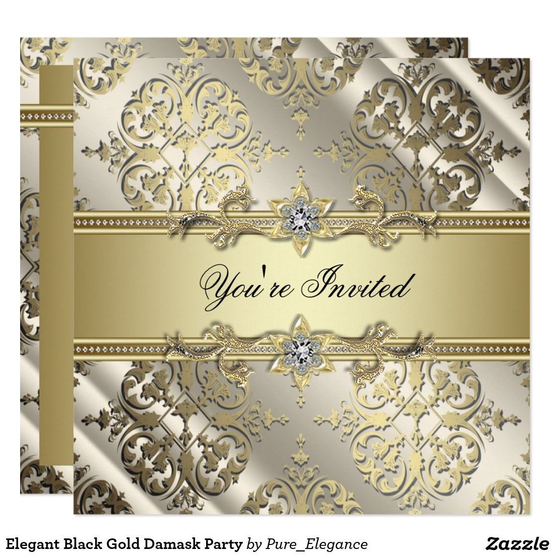 Elegant Black Gold Damask Party Card | Christmas Party Invitations ...