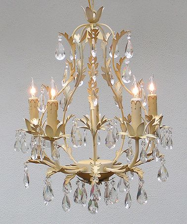 look at this zulilyfind cream wrought iron crystal five light rh pinterest co uk
