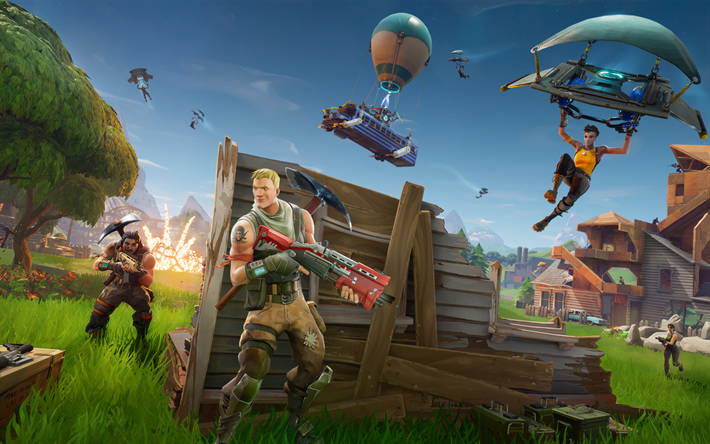Download Wallpapers Fortnite Gameplay 2018 Games Victory Royale Ps4 Besthqwallpapers Com Giochi Online Fortnite Giochi