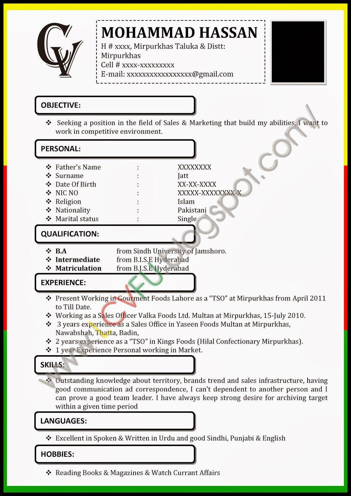 Cv Resume Example Format
