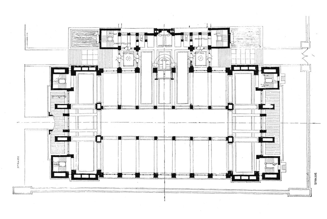 Wrights plan for the administration building for the larkin factories buffalo new york