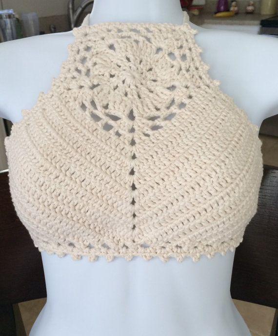 High neck Halter Crochet Halter Top by InLoveWithSunflowerspasso a ...