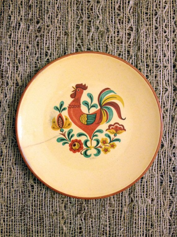 Hand Built Ceramic Rooster Plate