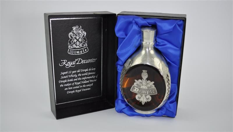 Dimple 12 Years Old Royal Decanter.  A rare, and very smart, limited edition pewter-encased decanter of Dimple 12yo.