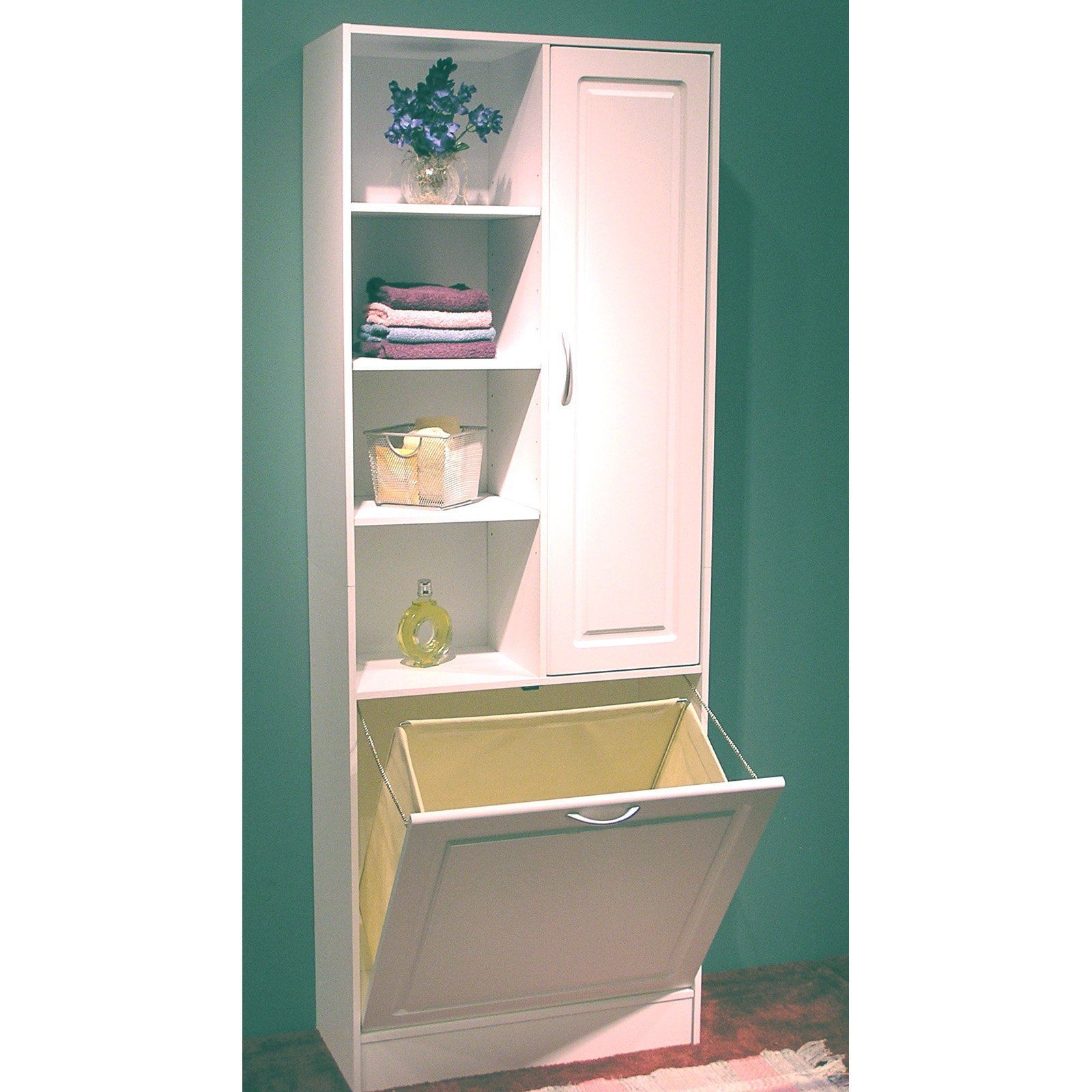 cool idea for a relatively small space 4d concepts bathroom tower with pull out - Bathroom Cabinets Small Spaces