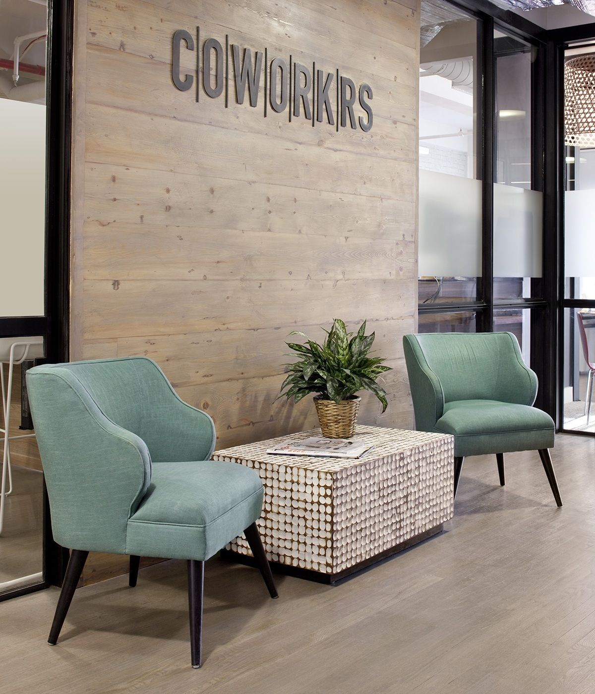 Inside cowork coworking space three floor and printer for Office interior furniture