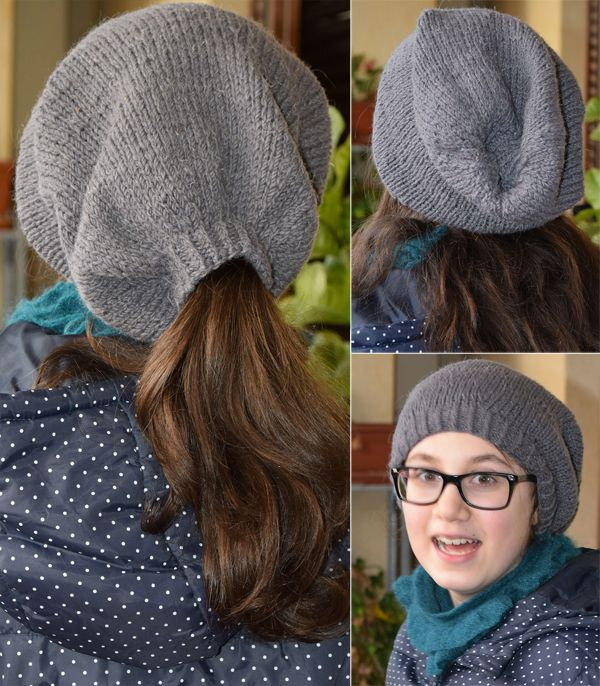 3a6d42ab165 Free Knitting Pattern for Slouchy Ponytail Hat - Bucaneve Hat is a slouchy  beanie with a gap for a ponytail that can easily be hidden by folding in  when you ...