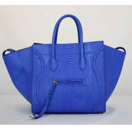 """f87b1fe565e Celine ▻ Phantom"""" in cobalt blue python with brass hardware, interior zip  pocket, and outside zip pocket. OMG! What a bag! So gorgeous and hard to  attain!"""