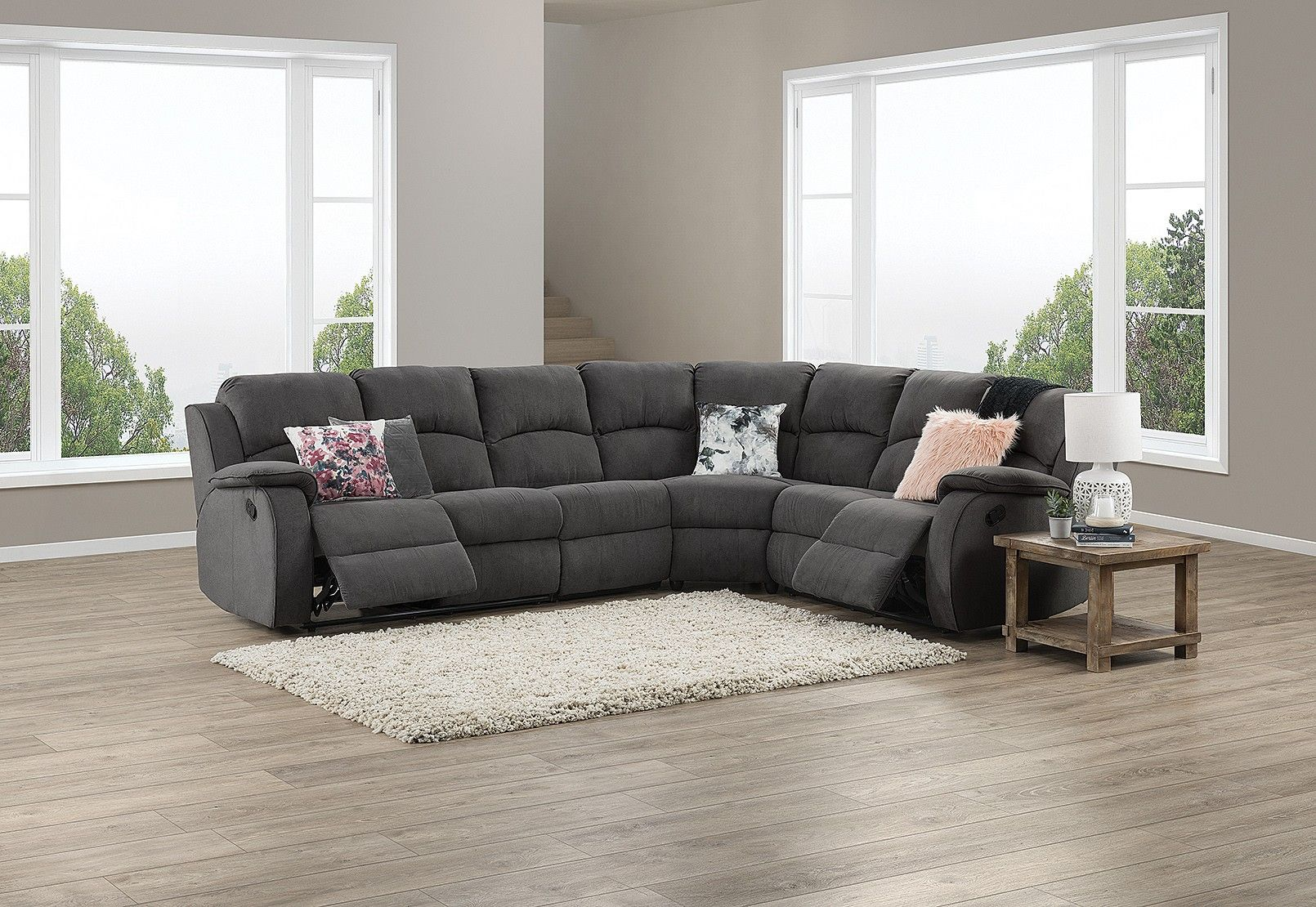 Saloon Fabric Corner Lounge With Inbuilt Recliners Amart Furniture Lounge Grey Lounge Furniture