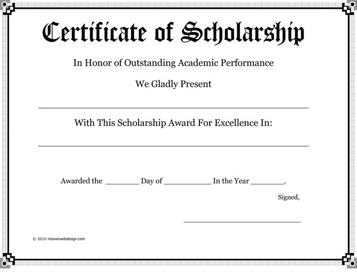 Award Certificate Of Scholarship Ffa Pinterest Certificate And Pdf