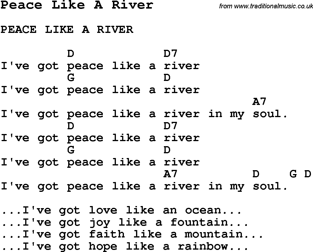 Summer Camp Song Peace Like A River With Lyrics And Chords For