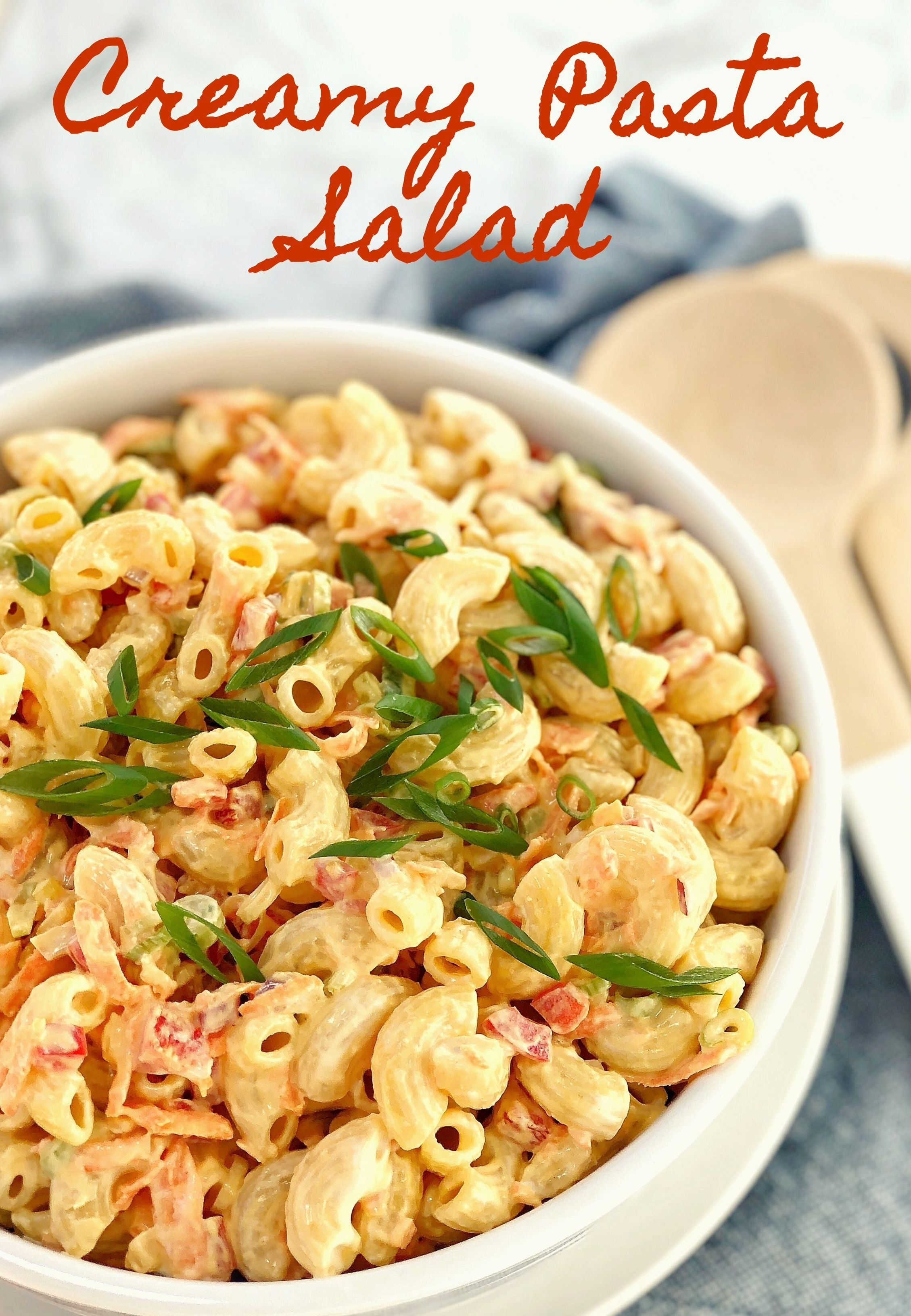 Creamy Macaroni Salad Fresh Veggies Combined With Elbow Pasta Then Add A Creamy Dressing Of Mayonnaise Elbow Pasta Recipes Creamy Macaroni Salad Tasty Pasta