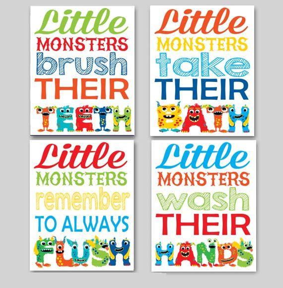 Kids Bathroom Art Little Monsters Brush Their By Playonwordsart