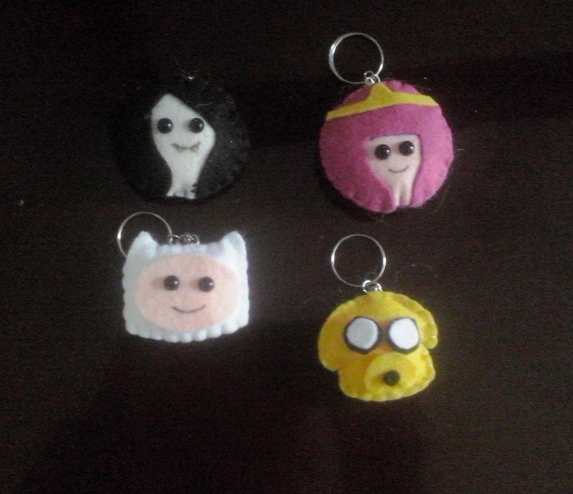 Chaveiro Hora da Aventura Marceline, Princesa Jujuba, Finn e Jacke