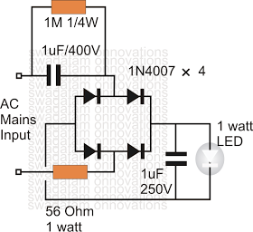 Electronic Circuit Projects Simplest 1 Watt Led Driver Circuit At 220v 110v Mains Voltage Circuit Projects Led Drivers Electronic Circuit Projects