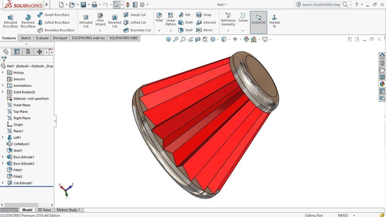 Solidworks Tutorial 20 Design An Engine Oil Filter In Solidworks Solidworks Tutorial Solidworks Tutorial