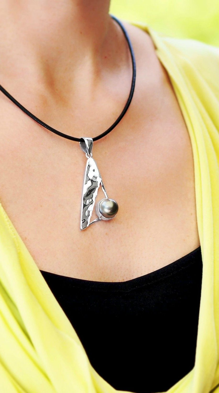 Triangle and tahitian pearl pendant tahitian pearls triangles and pendant necklace sterling silver with black tahitian pearl triangle large contemporary bold unique original geometric aloadofball Image collections