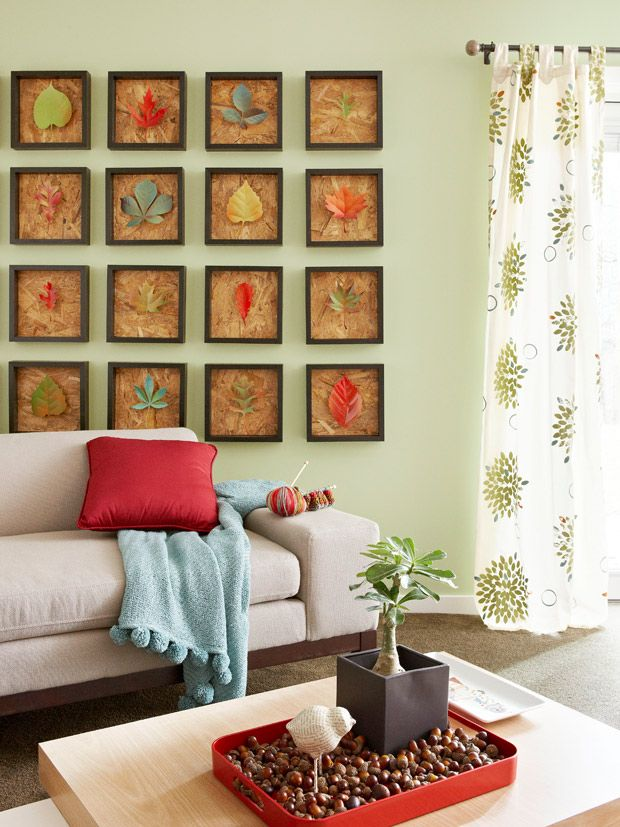 Fall Leaves Wall Art -- Create and display leaves that will stay colorful all year. Vinyl flashing cut in leaf shapes looks like the real thing right down to the subtle creases. Spray paint and easy-to-build frames complete the look.