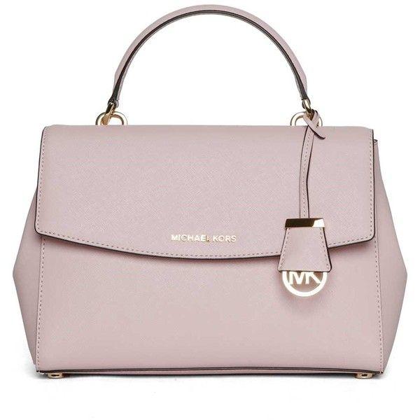 MICHAEL MICHAEL KORS 'Ava' medium leather bag ($295) ❤ liked on Polyvore featuring bags, handbags, genuine leather bags, pink leather purse, michael michael kors handbags, pink leather bag and michael michael kors purse