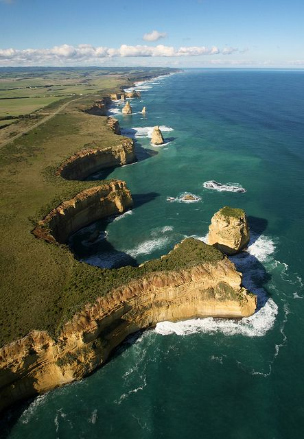 Aerial view of The Twelve Apostles, Great Ocean Road, Australia (by saranapier1).