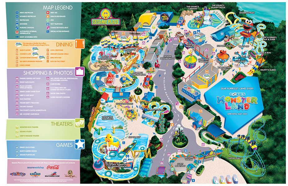 Sesame Place map | Dreaming of traveling in 2019 | Sesame ... on michigan's adventure map, busch gardens map, legoland map, canobie lake park map, idlewild and soak zone map, six flags map, hersheypark map, kings island map, disneyland map, knoebels map, knott's berry farm map, carowinds map, king of prussia mall map, adventure island map, aquatica map, discovery cove map, kings dominion map, dorney park map, cedar point map, peddler's village map,
