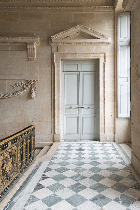 Door at Le Petit Trainon Versailles An elegant grey blue door illuminated only by window light as it has been for & Paris Photography - Versailles Door at Le Petit Trianon France ...